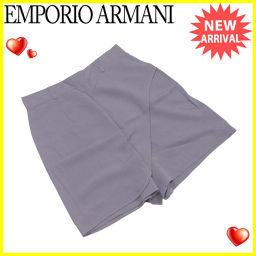 エンポリオ アルマーニ EMPORIO ARMANI キュロット ショートパンツ レディース ♯40サイズ スカート風 グレー レーヨン80%シルク絹20% 良品 【中古】 L1820 .