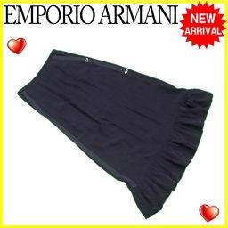 エンポリオ アルマーニ EMPORIO ARMANI スカート ロング フレアー レディース ♯38サイズ フリル ブラック×シルバー ACETATE/50%VS/50%(裏地)C/56%VS/44% 人気 【中古】 L2176 .
