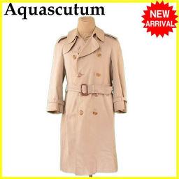 アクアスキュータム Aquascutum コート ロング メンズ ダブル トレンチ ベージュ C/100%(裏地)C/100% 人気 【中古】 L2250 .