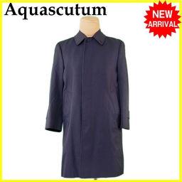 アクアスキュータム Aquascutum コート ロング メンズ シングル ステンカラー ネイビー PE/67%C/33%(裏地)VS/100% 人気 【中古】 L2264 .