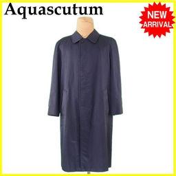 アクアスキュータム Aquascutum コート ロング メンズ シングル ステンカラー ネイビー C/100% 人気 【中古】 L2299 .