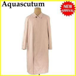 アクアスキュータム Aquascutum コート ロング メンズ シングル ステンカラー ベージュ ポリエステル/100% 人気 【中古】 L2304 .
