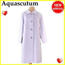 アクアスキュータム Aquascutum コート ロング レディース シングルボタン ライトブルーグレー アンゴラ/70%毛/30%(裏地)キュプラ 良品 【中古】 L2371 .