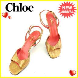クロエ Chloe サンダル シューズ 靴 レディース ♯36 アンクルストラップ ブロンズ×ゴールド系 レザー