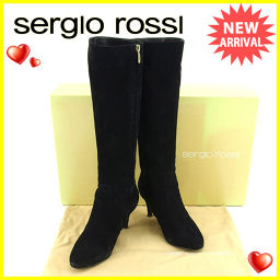 Sergio Rossi Sergio Rossi boots shoes shoes ladies' # 34 half long black x go