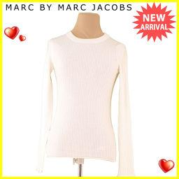 マークバイ マークジェイコブス MARC BY MARC JACOBS ニット MJ刺繍入り レディース ♯Sサイズ ラウンドネック リブ アイボリー ウール毛100% 美品 【中古】 S609 .