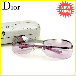 ディオール Dior サングラス レディース ラインストーン パープル 人気 良品 【中古】 T1010 .
