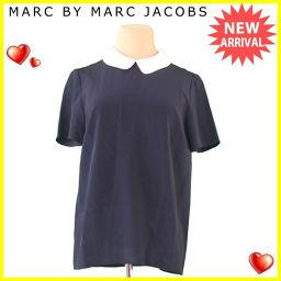 マークバイ マークジェイコブス MARC BY MARC JACOBS ブラウス ラウンドカラー レディース ♯4サイズ シフォン ネイビー×ホワイト シルク100% 美品 【中古】 T120 .