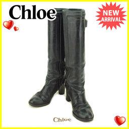 クロエ Chloe ブーツ #36 レディース ブラック×ゴールド レザー 人気 【中古】 T2138 .