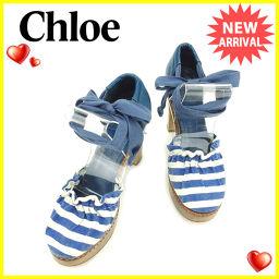 クロエ Chloe パンプス #37 レディース ボーダー ブルー×ホワイト キャンバス×レザー 人気 【中古】 T2180 .