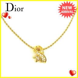 ディオール Christian Dior ネックレス アクセサリー メンズ可 ラインストーン ゴールド GP 人気 【中古】 T623 .