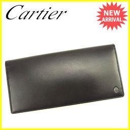 Cartier Cartier wallet Long wallet with zipper Ladies 'men' s possible Pasha black leather popular good items [pre] T633.
