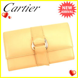 Cartier Cartier wallet wallet trifold ladies Trinity beige x gold leather popular 【pre-owned】 T634.
