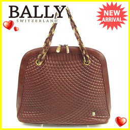 Bally Bally handbag chain shoulder ladies Bordeaux × gold leather popular 【pre-owned】 T659.