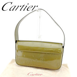 【中古】 カルティエ Cartier ショルダーバッグ ワンショルダー レディース  ハッピーバースデー ゴールド レザー 美品 セール T6613