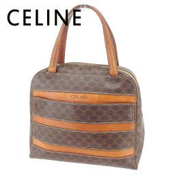 【中古】 セリーヌ CELINE ハンドバッグ  レディース  マカダム ブラウン PVC×レザー 人気 セール T6698