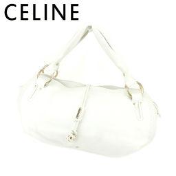 【中古】 セリーヌ CELINE ハンドバッグ バッグ レディース  ロゴプレート ホワイト 白 ゴールド レザー 良品 セール T7101