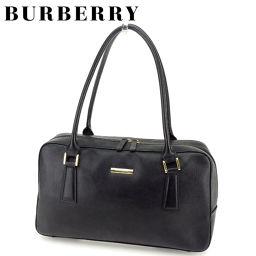 [Pre] Burberry BURBERRY Handbag Mini Boston Bag Women's Men Yes Noba Check Black Leather Popular Sale T7178