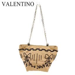 [Pre] Valentino Gala Bagni VALENTINO GARAVANI Party Bag Pouch Ladies Bead Brown Black Satin Popular Sale T7195