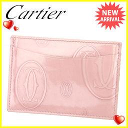 カルティエ Cartier カードケース パスケース レディース ハッピーバースデー ピンク エナメルレザー 人気 【中古】 T818 .
