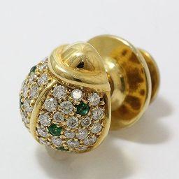 パスクワレ ブルーニ てんとう虫 ダイヤモンド 計0.47ct グリーンガーネット ブローチ ネクタイピン