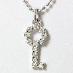 agete(アガット) 鍵 キー ダイヤモンド 計0.09ct 10金ホワイトゴールド(K10WG) 【中古】ブランド ジュエリー