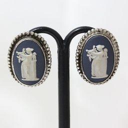 WEDGWOOD(ウェッジウッド) イヤリング 陶器 青 ブルー シルバー(SILVER) 【中古】 ジュエリー
