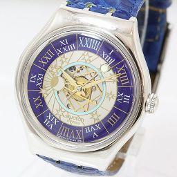 swatch(スウォッチ) レア!トレゾールマジック 12999本世界限定 革ベルト SAZ101 ブルー 青文字盤 プラチナ(Pt950)