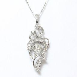 ネックレス 一粒石 ダンシングストーン ダイヤモンド 0.29ct 計0.12ct 18金ホワイトゴールド(K18WG) 鑑別書付き