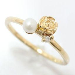 N+(ノジェス) ピンキーリング 真珠 パール 約3.1mm/ダイヤモンド 4号 10金イエローゴールド(K10YG) 【中古】ブランド