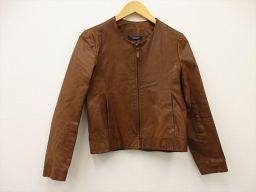 UNITED ARROWS(ユナイテッドアローズ) 牛革ジャケット ノーカラー ブラウン 茶 牛革 100% レディース