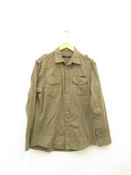 Calvin Klein Jeans (カルバンクラインジーンズ) メンズ ミリタリーシャツ L ブラウン ダークベージュ 綿 100%