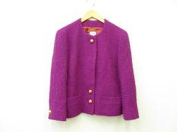 CELINE(セリーヌ) レディース アウター ノーカラージャケット 42 ノーカラー 紫 パープル 毛 70% モヘア 30%