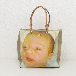 【大幅値下げ!!】Anya Hindmarch(アニヤハインドマーチ) 赤ちゃん ベビー トートバッグ ベージュ キャンバス×レザー