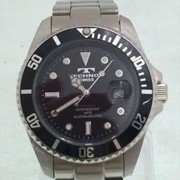 テクノス デイト TAM629 ブラック×ホワイト ステンレススチール クオーツ メンズ 【中古】 腕時計 all shop og