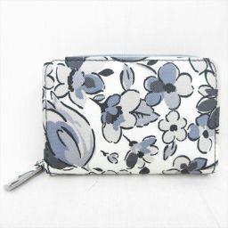 Cath Kidston(キャスキッドソン) 花柄 二つ折り財布 白×グレー ホワイト キャンバスコーティング/