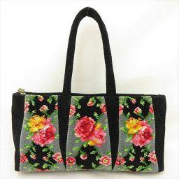 FEILER(フェイラー) 花柄 フラワー トートバッグ ワンショルダー 黒 ブラック コットン/ 【ブランドバッグ】