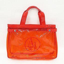 ARMANI JEANS(アルマーニジーンズ) トートバッグ 赤 レッド ビニール/ 【ブランドバッグ】【中古】nb