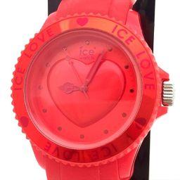 ice watch アイスウォッチ LOVE ファッションクォーツ 赤 ハート ラバー クォーツ レディース 【中古】 腕時計 all