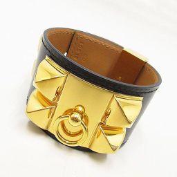 HERMES(エルメス) コリエドシアン ブレスレット バングル ブラック Sサイズ T刻印 黒×ゴールド金具 カーフ レザー