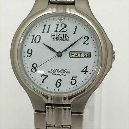 ELGIN(エルジン) カレンダー付 腕時計 FR-1223-C ホワイト チタン ソーラー電池 メンズ 【中古】 腕時計 all shop