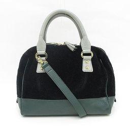 FEILER(フェイラー) 2WAYバッグ/ショルダーバッグ/ハンドバッグ 斜め掛け ブラック グリーン 黒 緑 コットン レザー/