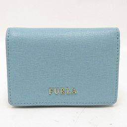 FURULA(フルラ) コンパクト財布 二つ折り 水色 レザー/ 【ブランドバッグ】【中古】nb