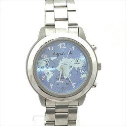 アニエスベー クロノ V654-6100 水色 ステンレススチール クオーツ メンズ 【中古】 腕時計 all shop kg
