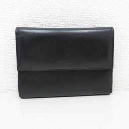 【大幅値下げ!!】FURULA(フルラ) 三つ折り財布 黒 ブラック レザー/ 【ブランドバッグ】【中古】nb