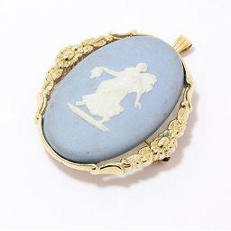 WEDGWOOD(ウェッジウッド) ブローチ ペンダントトップ 2WAY 水色 ブルー 人物 陶器×ゴールドメッキ 【中古】