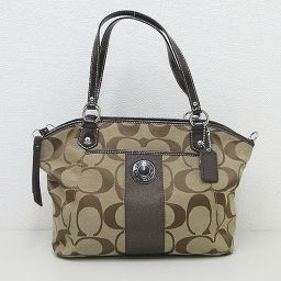 COACH (coach) signature stripe 2 WAY bag shoulder hand F 19203 tea [pre-owned] [brand bag]