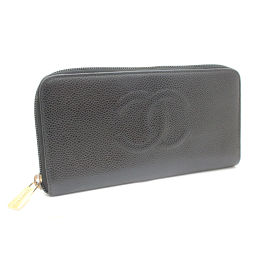 CHANEL Chanel Coco Mark Long Purse Caviar Skin Black Women [Pre]