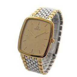 OMEGA オメガ デヴィル 腕時計 ゴールド文字盤 クオーツ ゴールド シルバー メンズ【中古】
