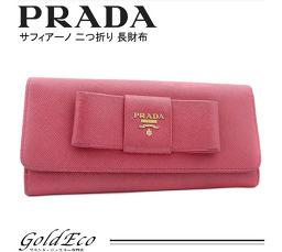 PRADA [Prada] saffiano ribbon fold wallet Pink leather 1MH132 ZTM F0505 Women's [pre]